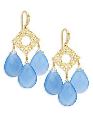 Floral Blue Chalcedony Drops Earrings