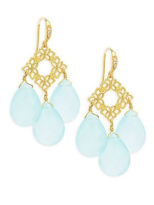 Floral Aqua Chalcedony Drops Earrings
