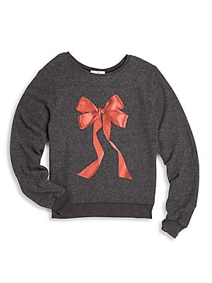 Little Girl's Bow-Graphic Sweatshirt