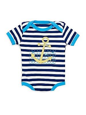 Baby's Cotton Anchor Striped Bodysuit