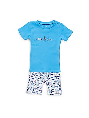 Baby's Cotton Fish Embroidered Top and Printed Shorts Set