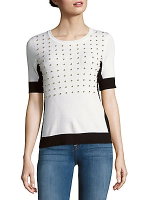 Selina Merino Wool Studded Sweater