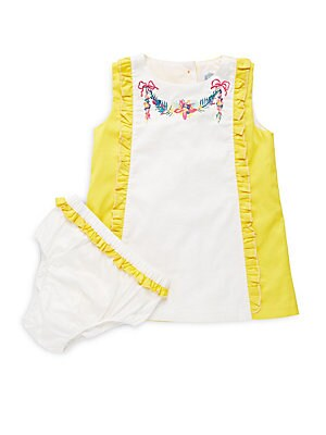 Baby's Cotton Ava Embroidered Dress and Bloomers Set