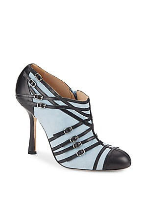 Colorblock Cap-Toe Leather Booties
