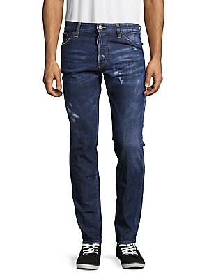 Distressed Five-Pocket Jeans