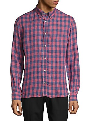 Slim-Fit Checked Linen Shirt