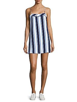 Straight-Across-Neckline Striped Dress