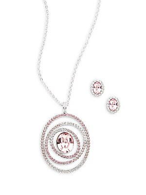 Crystal Stud Earrings & Pendant Necklace Set