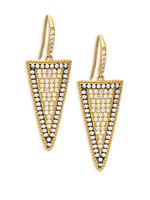 Pave Slice Gold Plated Drop Earrings