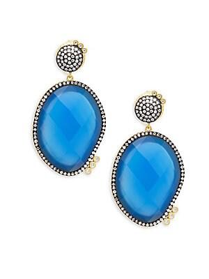 Baroque Blues Opulence Blue Agate & Gold Drop Earrings