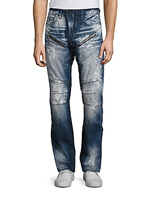 ??arracuda Straight Fit Moto Jeans