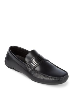 Leather Bit Loafers Versace