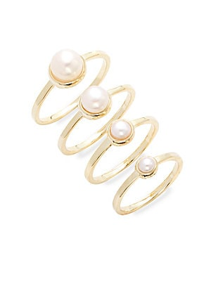 Stackable Pearl Ring Set