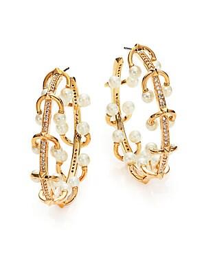 4MM White Pearl & Crystal Horseshoe Barbell Hoop Earrings/1.5