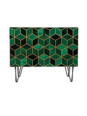 Elisabeth Fredriksson Emerald Cubes Credenza with Gold Aston Legs