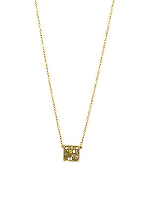 18K Yellow Gold and Diamonds Square Pendant Necklace