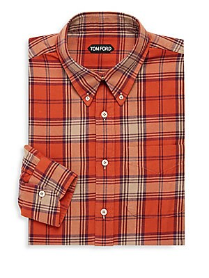 Check Spread Collar Dress Shirt