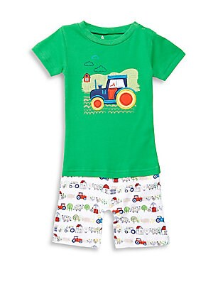 Baby's Car Embroidered Cotton Romper