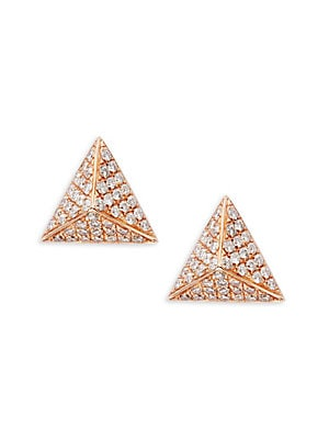 Pave Diamond Pyramid 14K Rose Gold Earrings