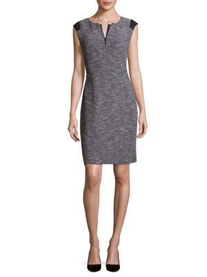 ZELINA SPLIT-NECK SHEATH DRESS