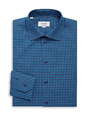 Contemporary Fit Checked Cotton Dress Shirt