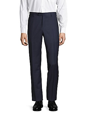 Parker Windowpane-Plaid Wool Pants
