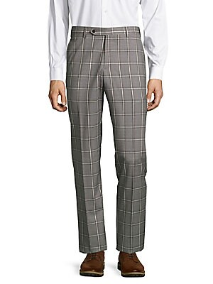 Parker Windowpane-Plaid Straight-Leg Pants