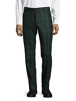 Parker Straight-Leg Plaid Pants