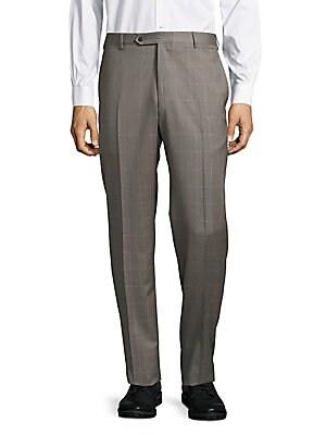 Parker Windowpane-Plaid Woolen Pants