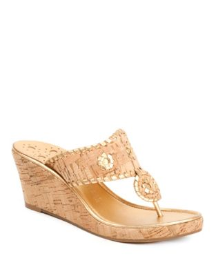 Marbella Metallic Leather Cork Wedge Sandals