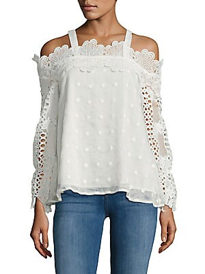 Click here for Lace Cold-Shoulder Top prices