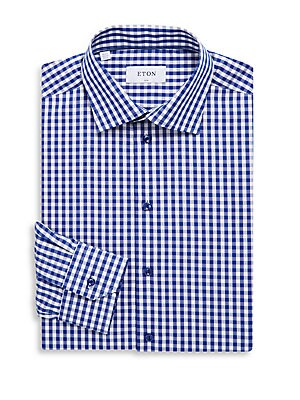 Slim Fit Gingham Cotton Dress Shirt