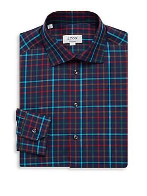 Contemporary Fit Plaid Cotton Dress Shirt