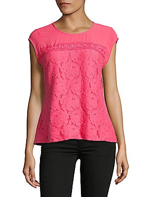 Cap-Sleeve Lace Top