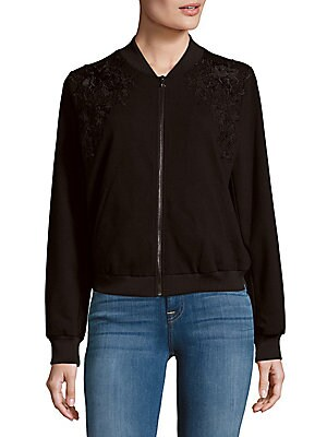 Cleo Floral-Lace Bomber Jacket