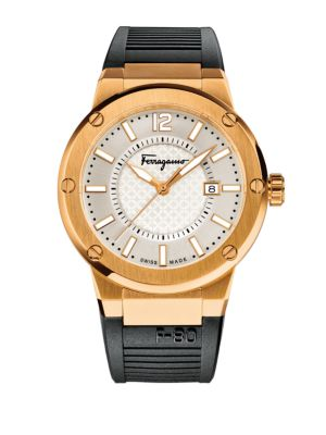 SALVATORE FERRAGAMO Mens F-80 Rose Goldtone Stainless Steel Rubber Strap Watch