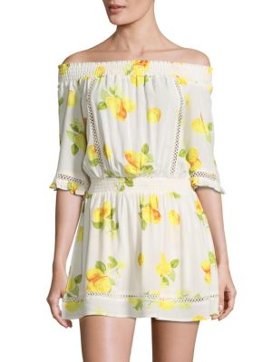 Floral Off-The-Shoulder Dress Saks Fifth Avenue RED