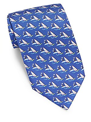 Boat Printed Woven Silk Tie