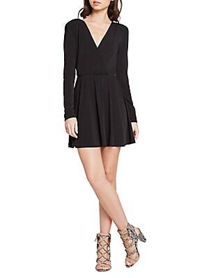 Surplice Long-Sleeve Flared Dress