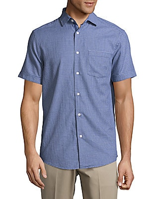 Geometric Print Casual Button-Down Cotton Shirt