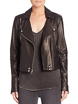 Roanna Cropped Leather Moto Jacket