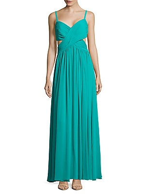 Solid Ruched Gown