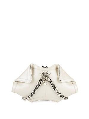 Top-Zip Leather Handbag