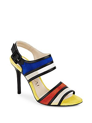 Striped Ankle-Strap Sandals