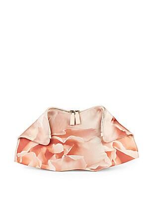 Floral Top-Zip Clutch
