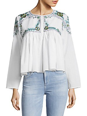 Mallory Embroidered Cotton Blouse