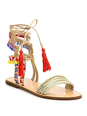 Lannister Embroidered Lace-Up Festival Sandals