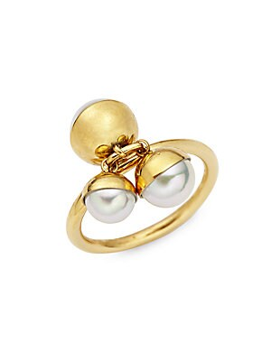 18K Yellow Gold & Pearl Tea Cup Ring