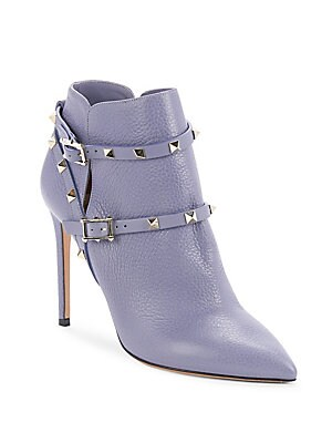 Metal-Studded Leather Ankle Boots