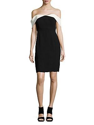 Contrast Off-the-Shoulder Sheath Dress